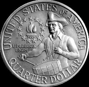 1975 1976 bicentennial quarter dollar drummer coin